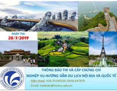 Thông báo thi và cấp chứng chỉ nghiệp vụ hướng dẫn du lịch